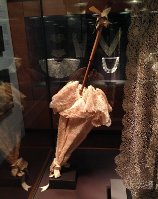 Lace parasol on display at the Art Gallery of South Australia